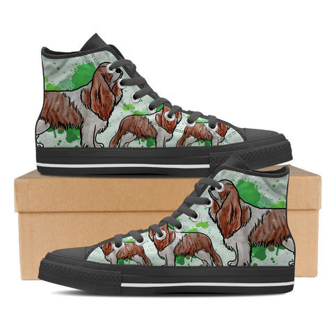Cavalier King Charles Spaniel Men's High Top Shoes - Black