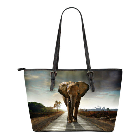 Elephants In The Wild Leather Totes (Small)