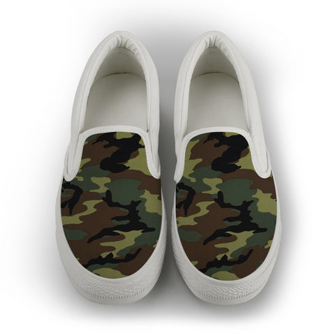 Camo Men's Slip On Shoes - White