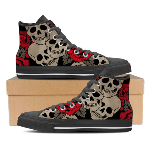 Sugar Skull #3 Men's High Top Shoes - Black