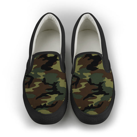 Camo Men's Slip On Shoes - Black