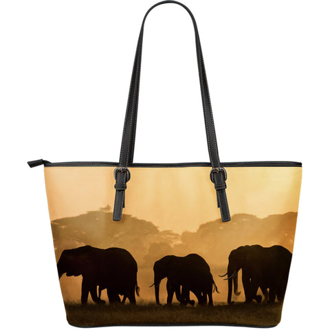 Elephants In The Wild - Large Tote Bag