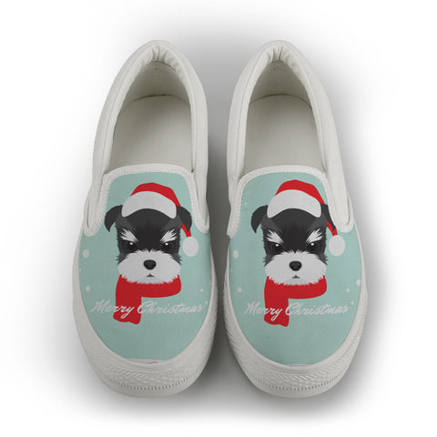 Schnauzer [ Merry Christmas ] women's Slip On Shoes - White