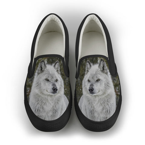 Wolf Series Women's Slip-On Canvas Shoe #2 - Black