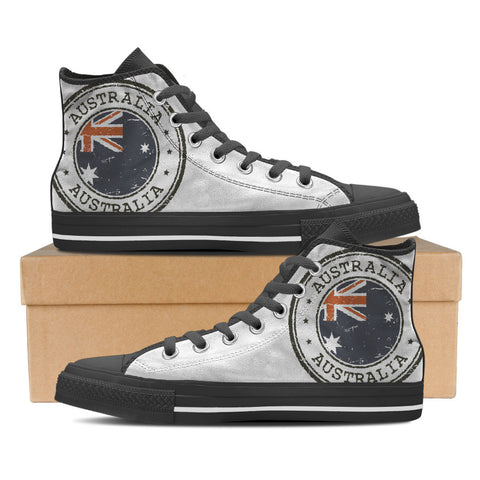 Aussie Flag #2 Men's High Top Shoes - Black
