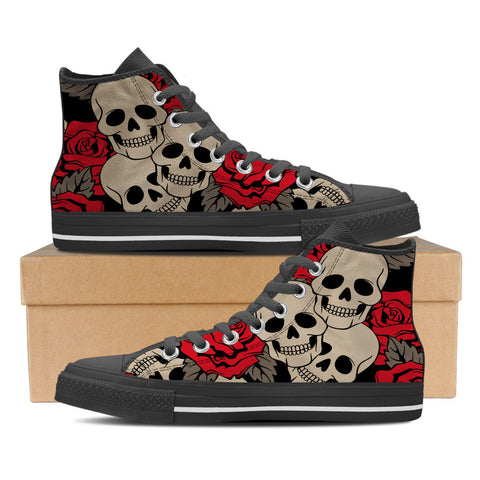 Sugar Skull #3 Women's High Top Shoes - Black