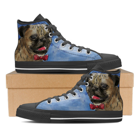 Pug Men's High Top Shoes - Black