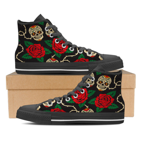 Sugar Skull #2 Men's High Top Shoes - Black