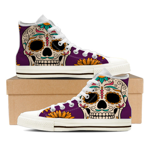Sugar Skull #1 Women's High Top Shoes - White