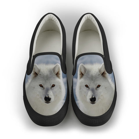 Wolf Series Women's Slip-On Canvas Shoe #3 - Black