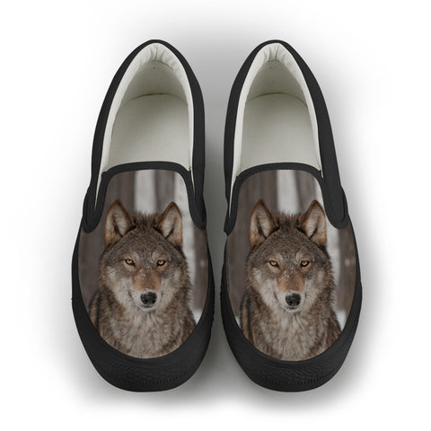 Wolf Series Women's Slip-On Canvas Shoe #1 - Black