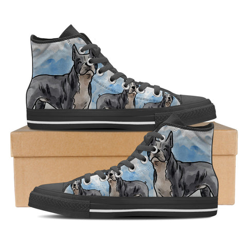 Boston Terrier Men's High Top Shoes - Black