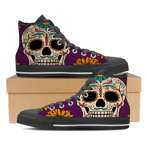 Sugar Skull #1 Women's High Top Shoes - Black