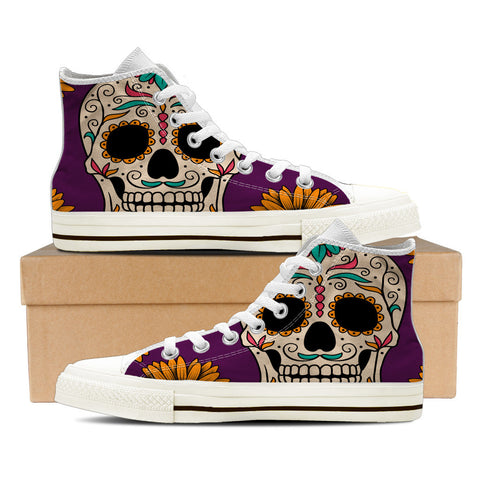 Sugar Skull #1 Men's High Top Shoes - White