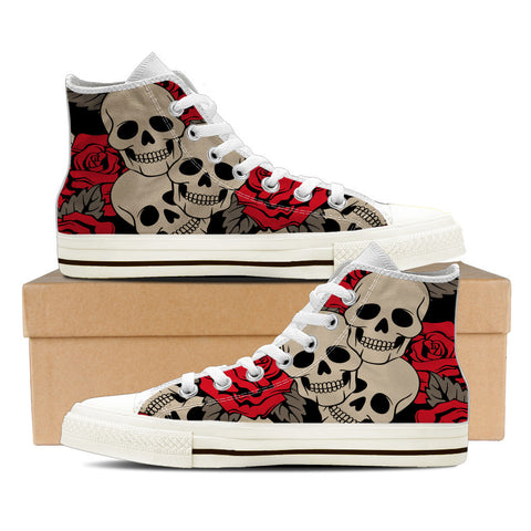 Sugar Skull #3 Women's High Top Shoes - White
