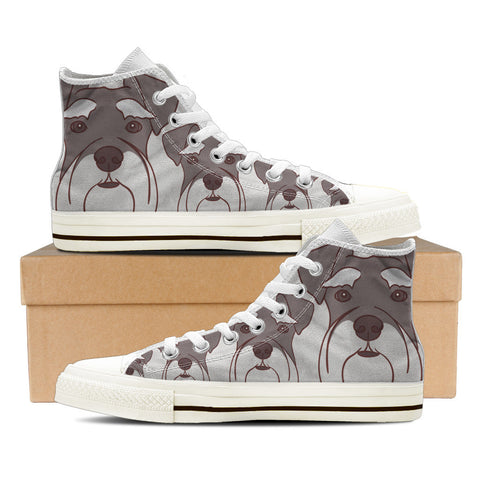 Schnauzer Men's High Top Shoes - White