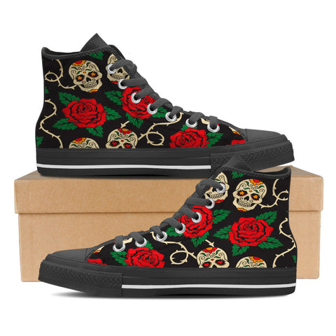 Sugar Skull #2 Women's High Top Shoes - Black