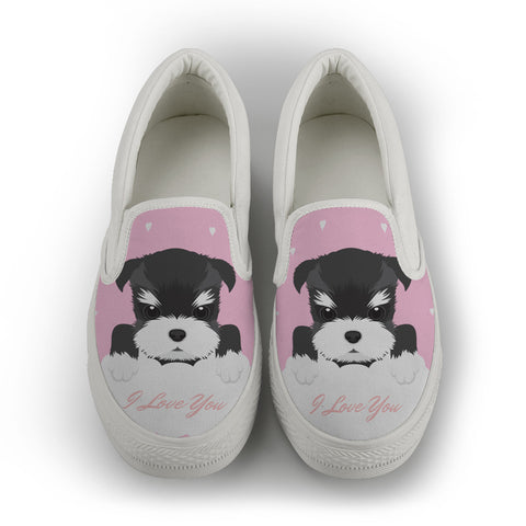 Schnauzer [ I Love You ] women's Slip On Shoes - White