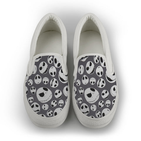 NIGHTMARE BEFORE CHRISTMAS (JACK) GREY/ WHITE - WOMEN'S SLIP-ON