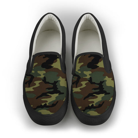 Camo Women's Slip On Shoes - Black