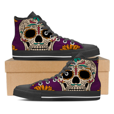 Sugar Skull #1 Men's High Top Shoes - Black