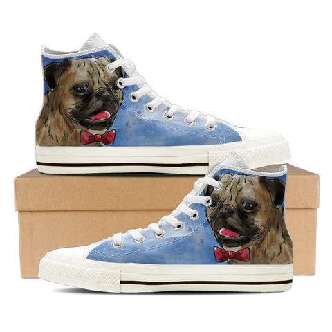 Pug Men's High Top Shoes - White