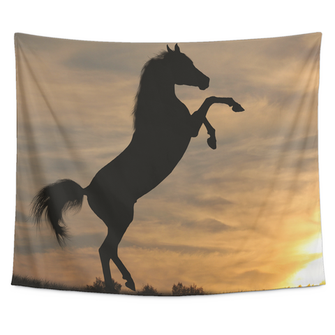 Horse in the wild Collection - [Sunset #2] Small Tapestry