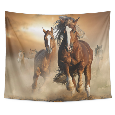 Horse in the wild Collection - [Sunset #4] Small Tapestry