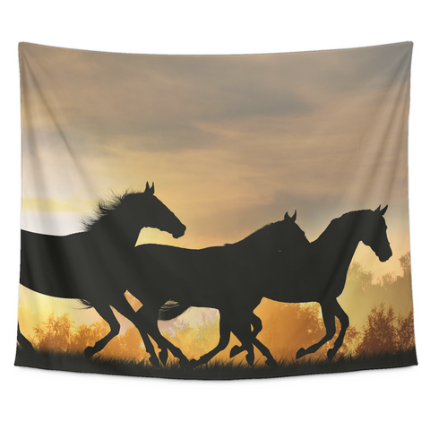 Horse in the wild Collection - [Sunset #3] Small Tapestry