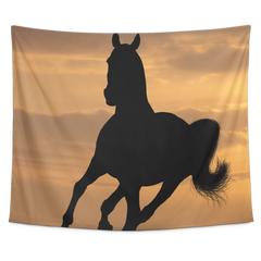 Horse in the wild Collection - [Sunset #1] Small Tapestry