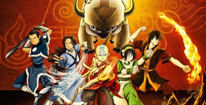 Picture of the main characters of Avatar: The Last Airbender, Aang, Katara, Sokka, Toph, and Zuko