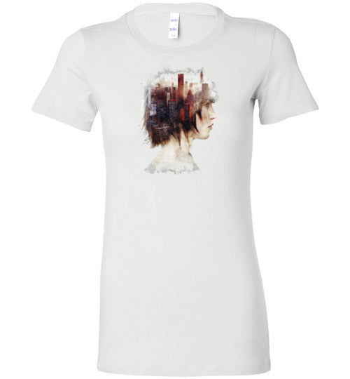 Lady In The City-Indie Women's Shirts-Barrett Biggers|Threadiverse