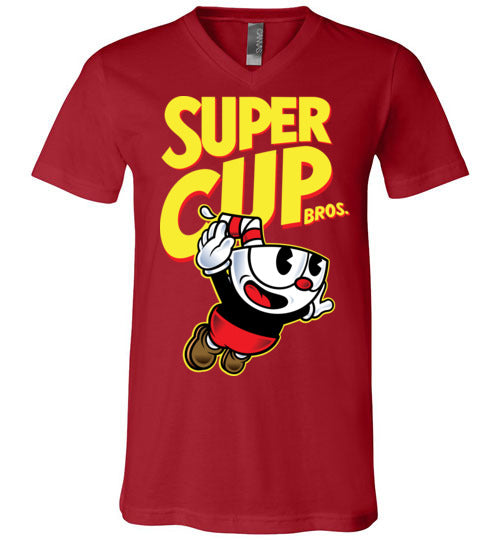 Cup Head Bros-Gaming V-Necks-Demonigote|Threadiverse