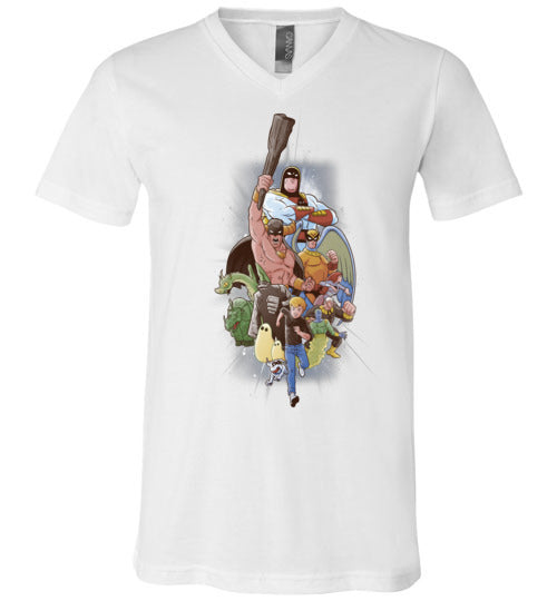 Childhood Heroes-Animation V-Necks-Skullpy|Threadiverse