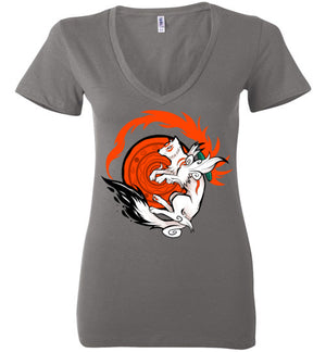 White Wolf Goddess-Gaming Women's V-Necks-Art Of Sarah Richford|Threadiverse