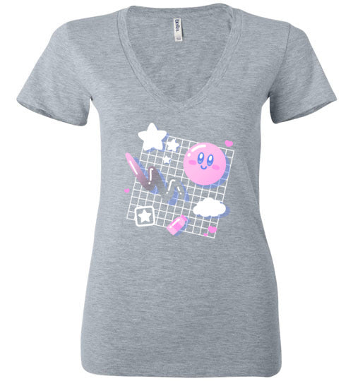Kirby Aesthetic-Gaming Women's V-Necks-Minilla|Threadiverse