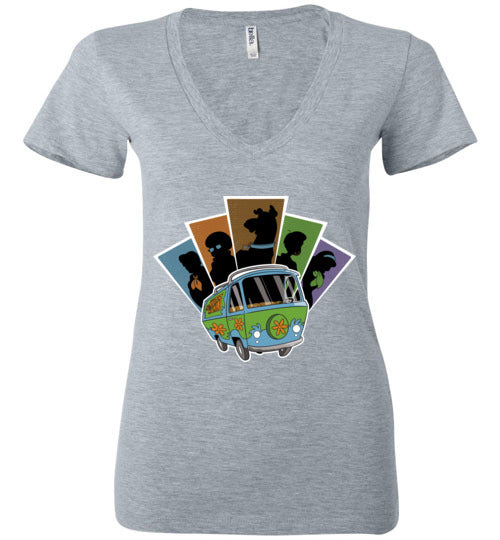Mystery Pals-Animation Women's V-Necks-Skullpy|Threadiverse
