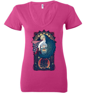 Art of a Moving Castle-Anime Women's V-Necks-Chocolate Raisins Art|Threadiverse