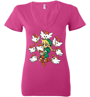 Linkle The Cucco Queen-Gaming Women's V-Necks-Art Of Sarah Richford|Threadiverse