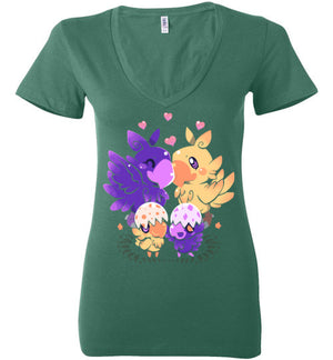 Loving Choco Family-Anime Women's V-Necks-Art Of Sarah Richford|Threadiverse