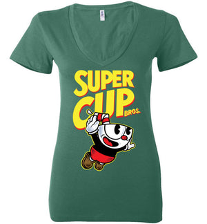Cup Head Bros-Gaming Women's V-Necks-Demonigote|Threadiverse