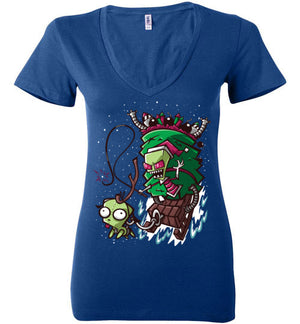 Zim Stole Christmas-Animation Women's V-Necks-CoD (Create Or Destroy) Designs|Threadiverse