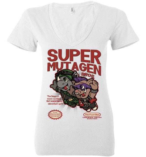 Super Mutagen Bros-Pop Culture Women's V-Necks-Angzdu|Threadiverse