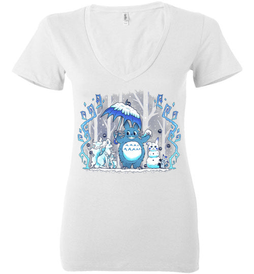 Winter Forest Friends-Anime Women's V-Necks-Art Of Sarah Richford|Threadiverse