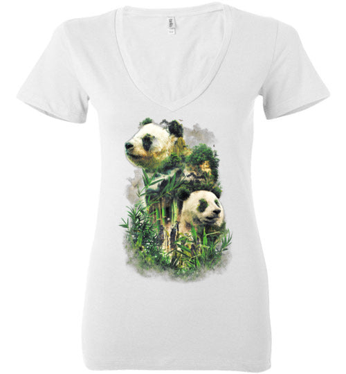 Panda Montage-Indie Women's V-Necks-Barrett Biggers|Threadiverse