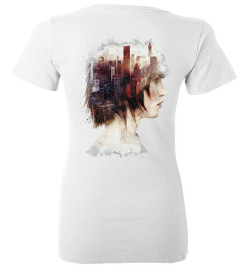 Lady In The City-Indie Women's V-Necks-Barrett Biggers|Threadiverse