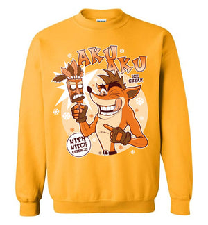 Aku Aku Ice Cream-Gaming Sweatshirts-Fernando Solar Tees|Threadiverse