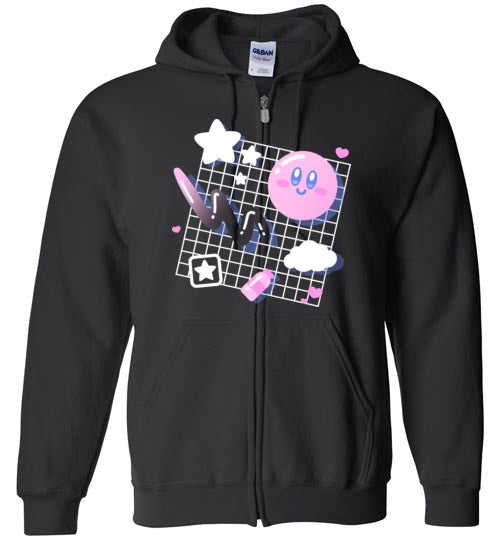 Kirby Aesthetic-Gaming Zipper Hoodies-Minilla|Threadiverse