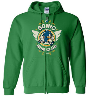 Sonic Run Club-Gaming Hoodies-Typhoonic Artwork|Threadiverse