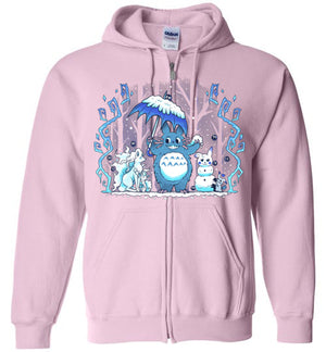 Winter Forest Friends-Anime Zipper Hoodies-Art Of Sarah Richford|Threadiverse